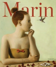 Cover of Marin Magazine, lady with a hummingbird