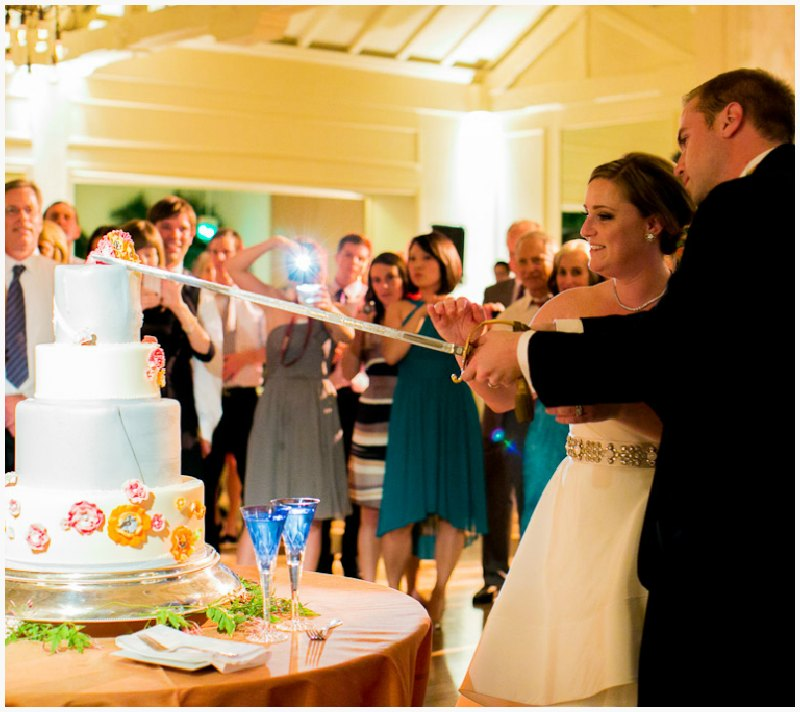 Bride and Groom cut the cake ~ Vibrant Fall Wedding